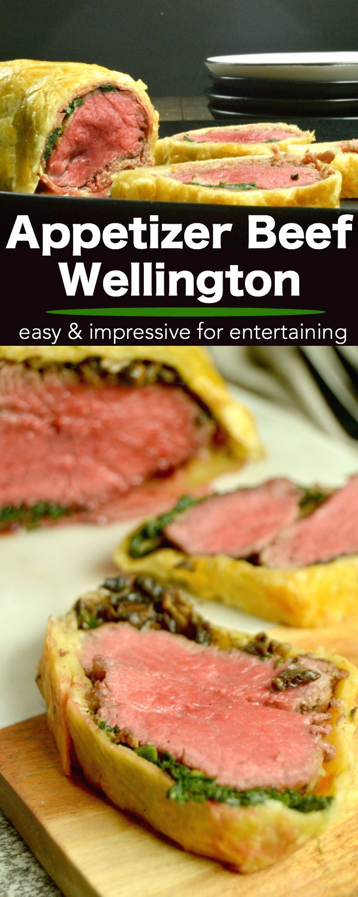 Beef Wellington Appetizers: Tender steak smothered in mushroom pate wrapped in prosciutto then surrounded by Puff Pastry that is baked to light and flaky deliciousness. Perfect for all special occasion entertaining this holiday season, but easy enough to have just because they are delicious! #appetizers #holidayfood #entertaining #comfortfood #AD #InspiredByPuff via @westviamidwest