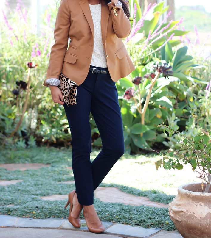 Review: Banana Republic Sloan Fit Slim Ankle Pants in Navy + Camel blazer + lace top + leopard fold over clutch + pumps.  Details here: http://www.stylishpetite.com/2013/09/review-banana-republic-sloan-fit-slim.html