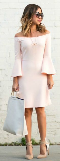 Kim Le + super elegant + blush pink bell sleeve dress + neutral heels + simplistic jewellery + compliment the style + perfect for a more formal occasion  Dress: Urban Outfitters, Shoes: Old Joe's.