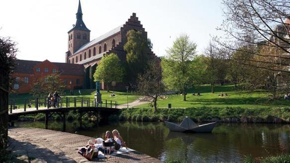 Picnic i eventyrhaven bag domkirken i Odense