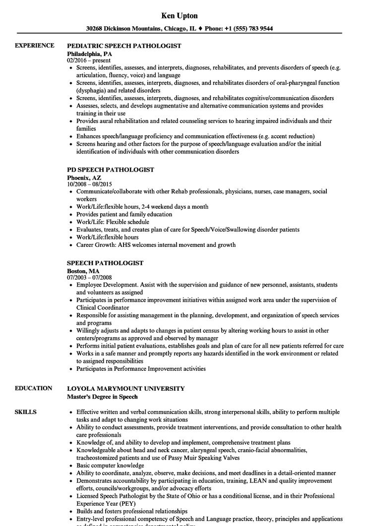 Speech Pathologist Resume Samples in 2020 Manager resume