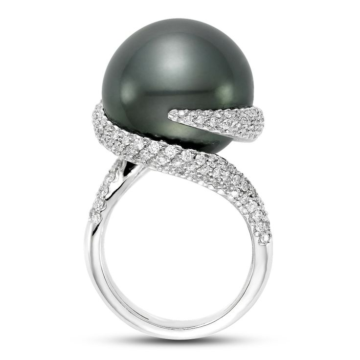 mastoloni ribbon cocktail ring features a tahitian pearl accented with cts twt brilliant cut white diamonds the ring comes in white gold