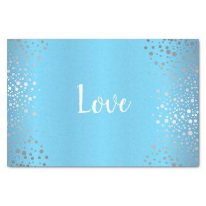 Baby Blue and Silver Confetti Dots Tissue Paper - anniversary cyo diy gift idea presents party celebration