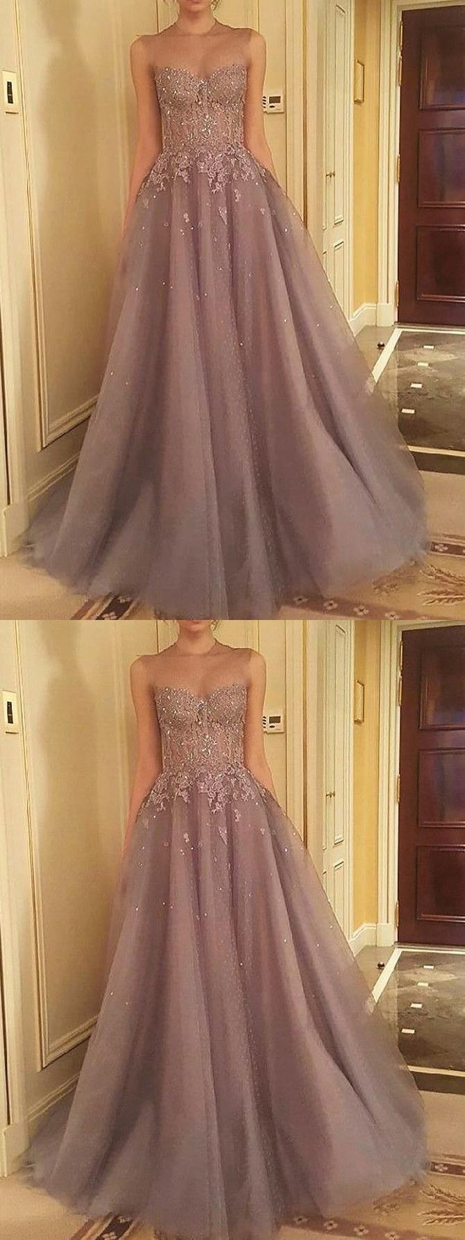 Tulle Appliques Prom Dress, Sleeveless Evening Dresses, Sexy Long Prom Dresses P0019#PromDress#PromDresses#tulleprom
