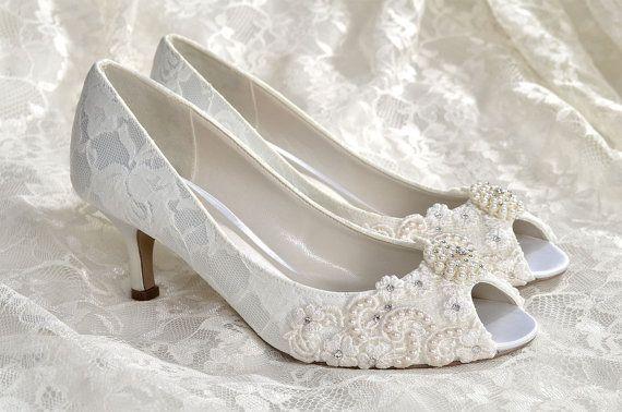 Wedding Shoes Medium Heels Custom Colors Vintage Lace P Toe Women S Bridal Pbp 2 25 Pink Blue