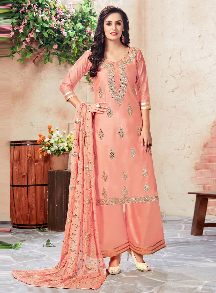 Peach Chanderi Palazzo Style Suit 108587