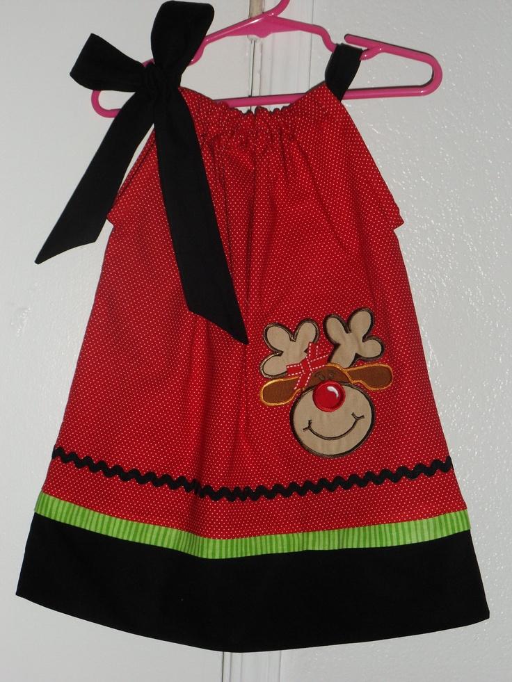 Christmas reindeer pillowcase dress red black 27 00 via etsy