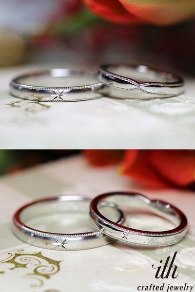 それぞれの形でペア感を出したマリッジリング。女性のリングはリバーシブルになっていて、星の飾り彫りを正面にすると、男性様のリングとお揃いに! [marriage,wedding,ring,bridal,Pt900,プラチナ,マリッジリング,結婚指輪,オーダーメイド,ウエディング,ith,イズマリッジ]