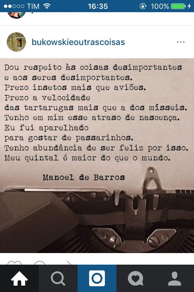 Salve Manoel de Barros!