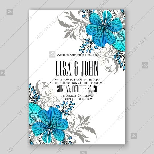Beautiful Wedding Invitation Template With Tropical Vector Blue