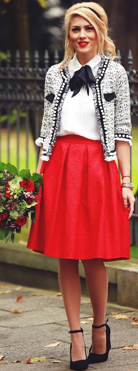 30 best red skirt outfit images on Pinterest | Skirts, Red skirts ...