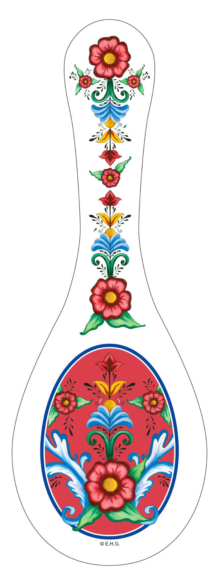 The perfect European gift to accent your kitchen. This ceramic spoon rest features an attractive and exclusive artwork of Rosemaling and Flowers. - The perfect European gift to accent your kitchen - S