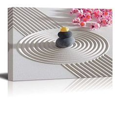 Japanese Wall décor is truly mystical, enchanting and beautiful. Chances are you have seen those pretty Japanese wall fans or a captivating cherry blossom painting. Either way Japanese home wall art décor is stylish, unique and very popular in homes across the USA.  Wall26 - Canvas Prints Wall Art - Japanese Zen Garden with Stacked Stones   Modern Wall Decor/ Home Decoration Stretched Gallery Canvas Wrap Giclee Print. Ready to Hang - 12