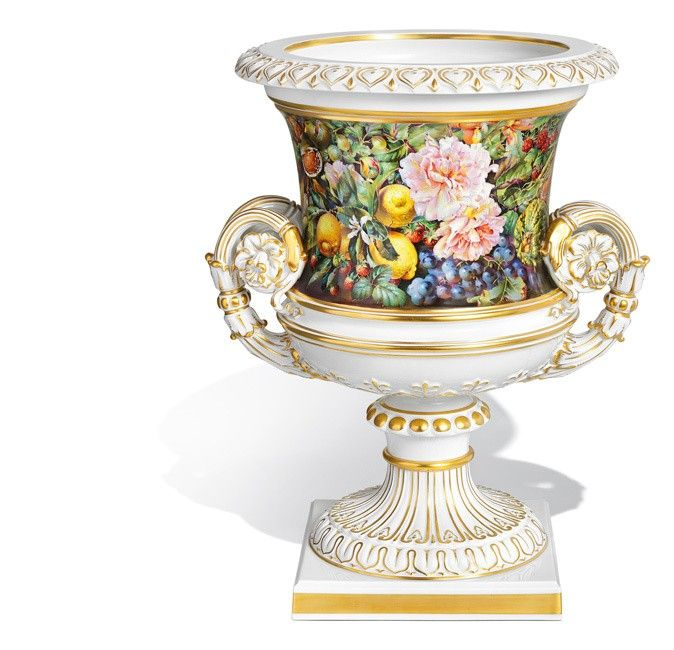 "Crater Vase ""Rich flower and fruit painting"", H 47 cm"