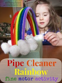 Still Playing School: Pipe Cleaner Rainbow. St. Patricks Day Fine Motor Skills Activity