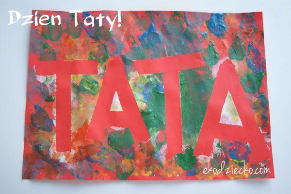 Praca plastyczna z użyciem taśmy malarskiej dla maluchów z okazji Dnia Taty.  Plastic work with tape for the toddlers on the occasion of Dad's Day.