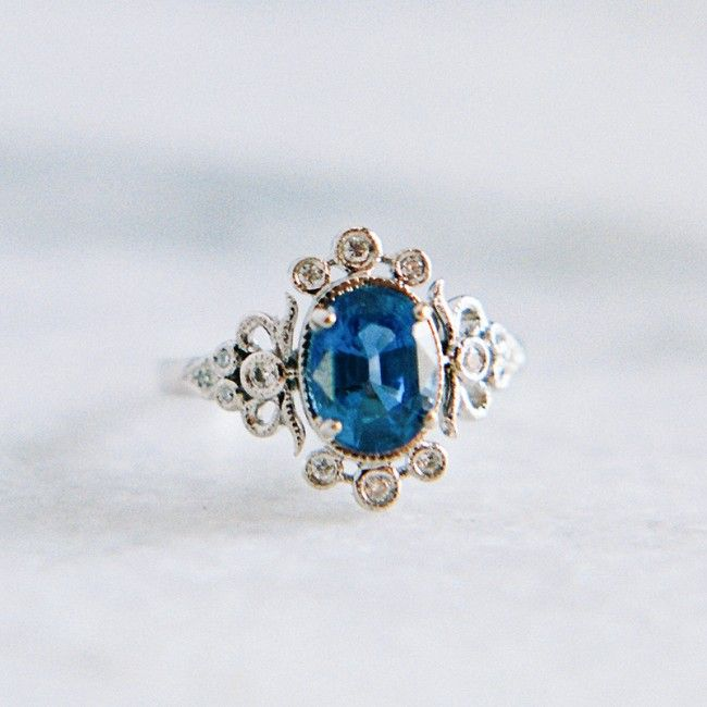 Fantastic vintage-inspired sapphire & diamond ring // Claire Pettibone Fine Jewelry Collection from Trumpet & Horn <3