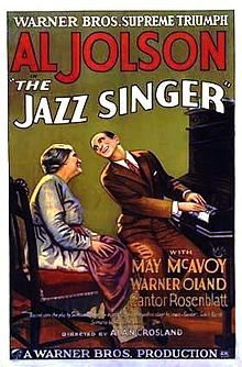 """The Jazz Singer 1927 is not a film noir but a great poster,  The first feature-length motion picture with synchronized dialogue sequences, its release heralded the commercial ascendance of the """"talkies"""" and the decline of the silent film era. Directed by Alan Crosland and produced by Warner Bros. with its Vitaphone sound-on-disc system, the movie stars Al Jolson."""
