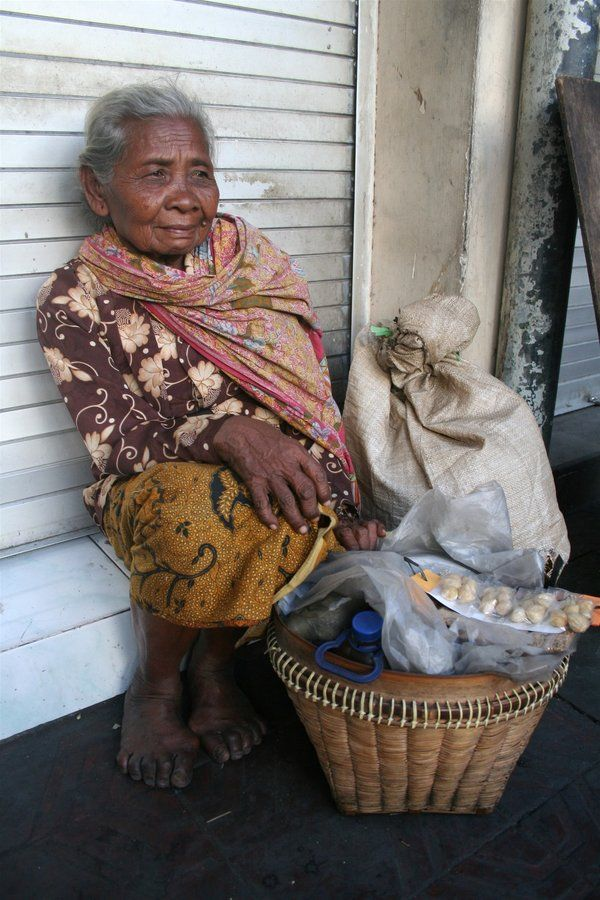 Old lady seller at beringharjo jogjakarta  face of poverty indonesia