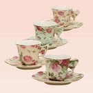 Rose Chintz Porcelain Tea Cup & Saucer Sets (4)