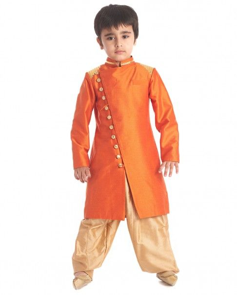 Orange Military Sherwani Set - Kidology - Designers