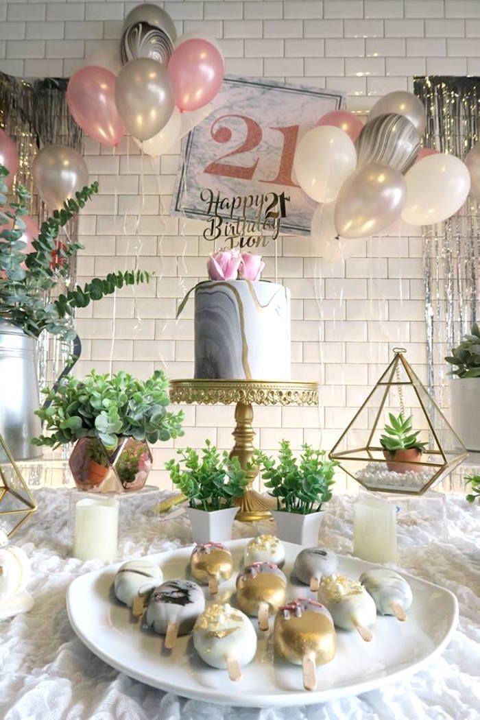 Elegant Marble Inspired 21st Birthday Party 21st Birthday Table