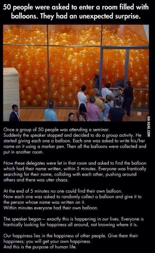 Besides the moral of the story..I just would want to run around inside a room full of balloons.