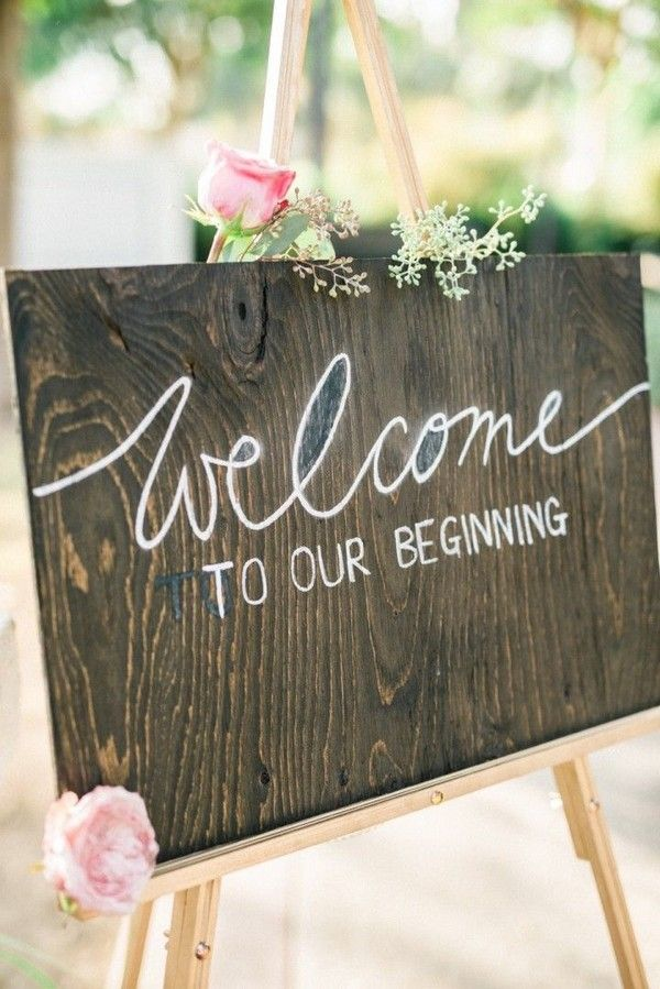 rustic wedding sign wedding ceremony idea / http://www.deerpearlflowers.com/perfect-rustic-wedding-ideas/2/