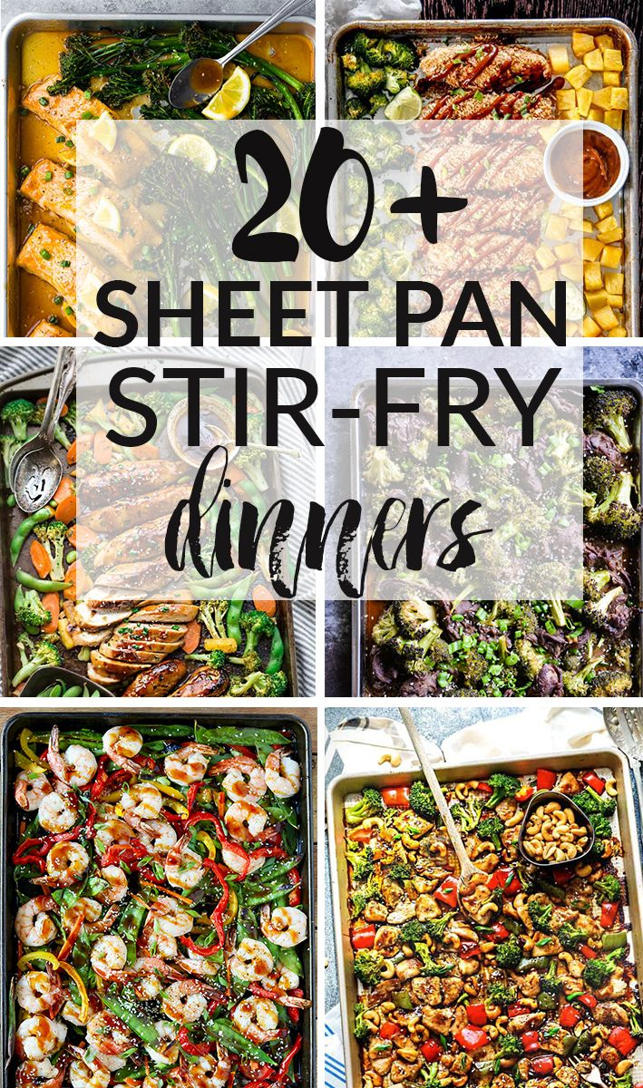 20+ Sheet Pan Stir-Fry Dinners - all the elements you love about classic stir-fries made easier on a baking sheet. These recipes are perfect for Sunday meal prep without the hassle of watching over everything on the stove-top. You've got Cashew Chicken, Sesame Chicken, Teriyaki Salmon, Thai Chicken, Mongolian Beef, Beef & Broccoli, Shrimp, Tofu and more!