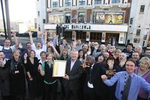 Mayflower Theatre staff celebrating IIP Gold