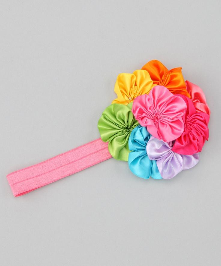Rainbow Flower Headband: Flower Headbands, Fabrics Flower, Yoyo Flower, Flower Parties, Flower Power, Satin Flower, Rainbows Flower, Diy Flower, Flower Diy