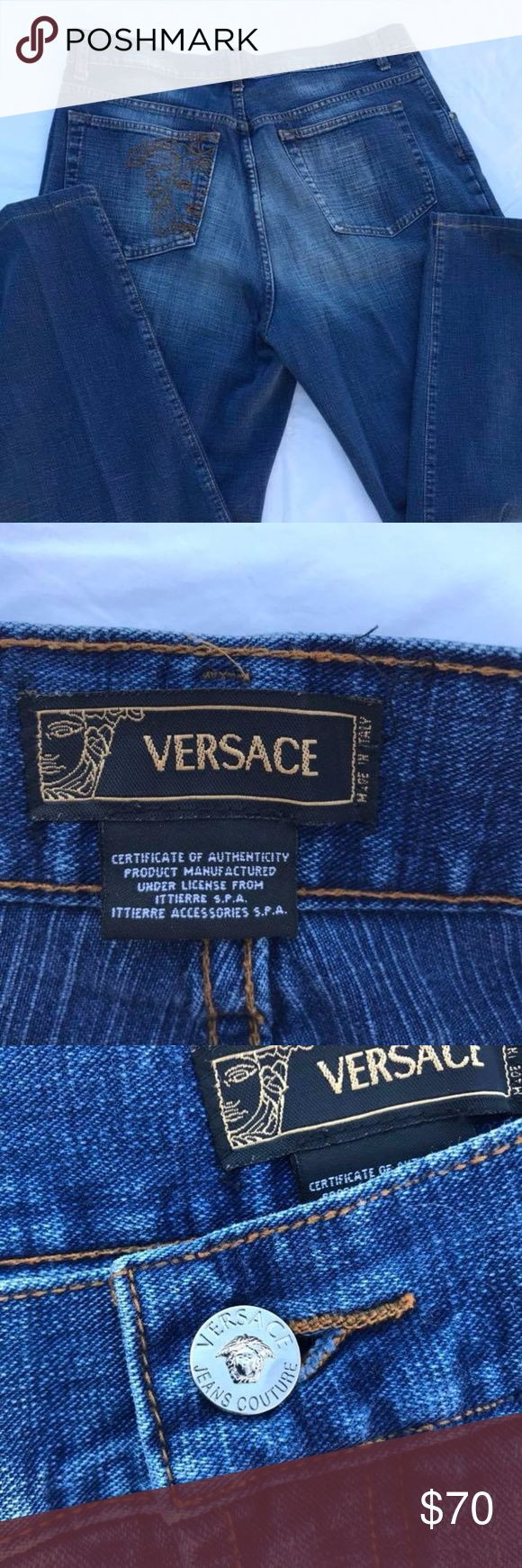 """monday Sale ****VERSACE Jeans Men's denim pants 38 Versace Denim Jeans Excellent  No rips or stains size 38 54 approx inseam 29""""  Please see photos Thank you!!!  NOTE:   I list for others as well so items may come from a home with pets or smokers.   Also, I travel several days out of the month, usually 3 days at a time  sku799teal4wgw Versace Jeans"""