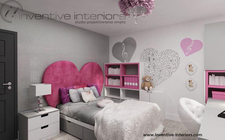 Projekt pokoju dziecięcego Inventive Interiors - różowo szary pokój małej dziewczynki w serduszka
