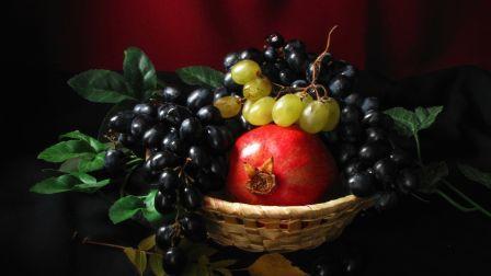 Csendélet friss gyümölcs szőlő lemez HD Wallpaper