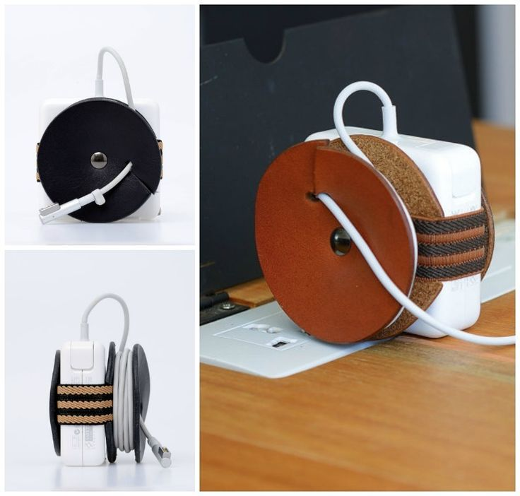The leather PowerPlay Macbook cable organizer is a genius, simple solution