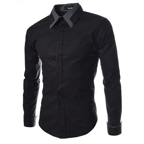 (ST29) メンズ ロング ダブル カラー カフ スリム ドレス シャツ