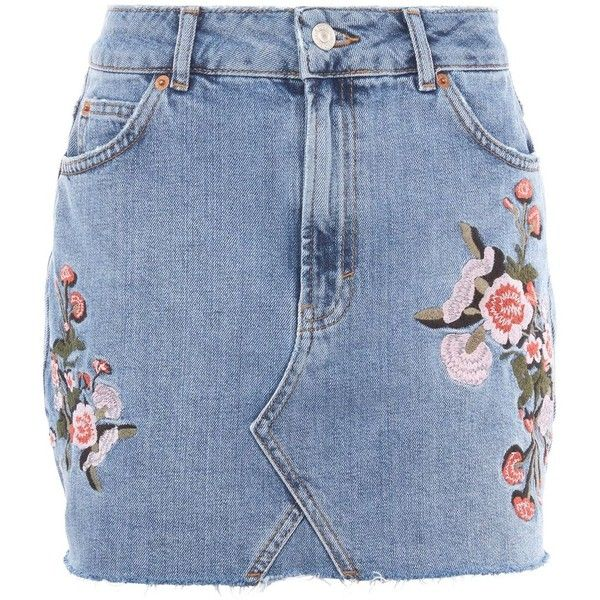 Topshop Moto Denim Floral Skirt ($47) ❤ liked on Polyvore featuring skirts, mini skirts, mid stone, mini skirt, denim miniskirt, embroidered skirt, blue floral skirt and short denim skirts