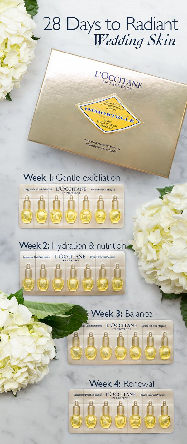 Radiant and renewed skin should be on every bride's pre-wedding checklist.  Remove the guesswork and follow our 28-day Divine renewal program, perfectly formulated and portioned to prepare your skin to glow on your big day.   The Divine Renewal Program acts in 4 steps, specifically developed to work in tune with the skin renewal cycle. 4 different formulas enhance overworked skin's natural ability to regenerate over a 4 week timeframe.