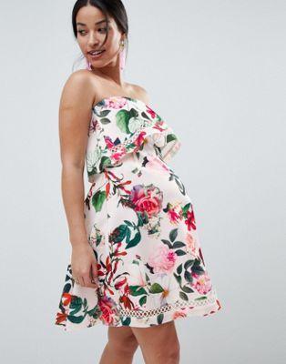 86607f98c0a ASOS DESIGN Maternity floral bandeau ruffle mini dress with crochet trim