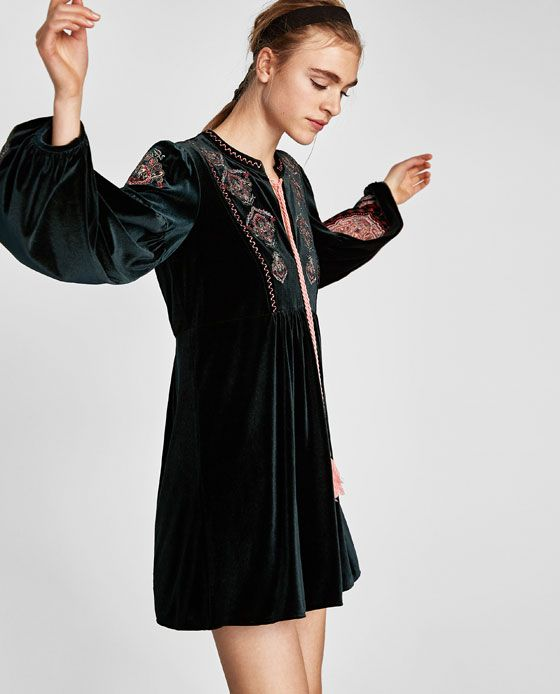 Image 4 of EMBROIDERED VELVET DRESS from Zara