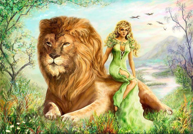 Obraz, lew, Kobieta