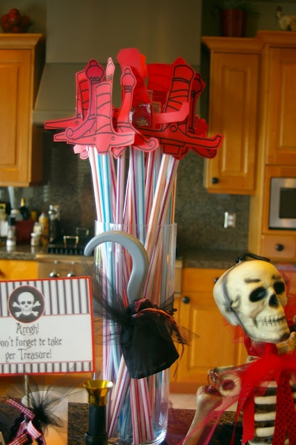 Pirate Party, sherbert filled straws with sword topping. Like it.