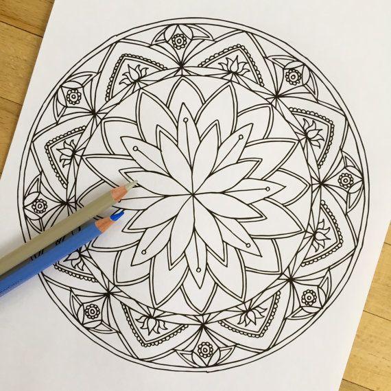 Mandala quot Lotus quot Hand Drawn Adult