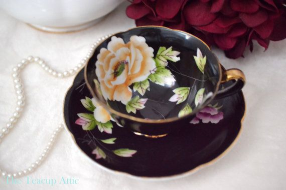 Black Chugai China Teacup and Saucer Set by TheTeacupAttic on Etsy