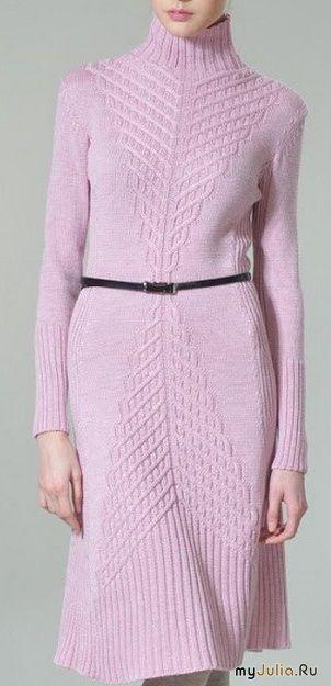 Очень красивое платье связаное спицами
