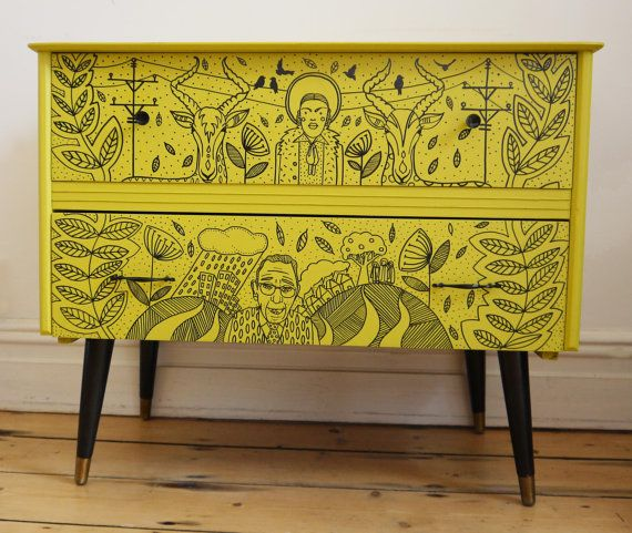 Sweet Reggae Sounds - Mid Century Retro Chest of Drawers - Lime Green by HandsomeVingage on Etsy