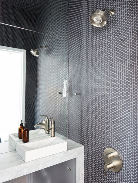 at his 350 square foot apartment small space champion graham hill practices what he preaches penny tilespanish housebathroom designsbathroom - Small House Bathroom Design