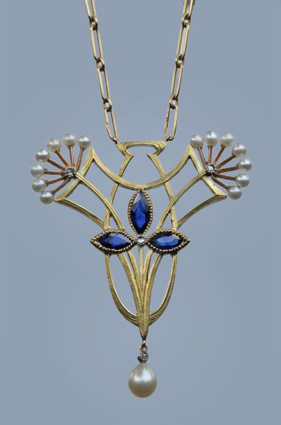 This is not contemporary - image from a gallery of vintage and/or antique objects. BREANT & COULBAUX Art Nouveau Pendant Gold Sapphire Diamond Pearl