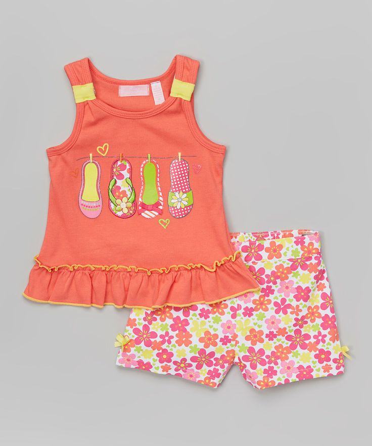Look at this Kids Headquarters Orange Flip Flop Tank & Pink Shorts - Infant, Toddler & Girls on #zulily today!