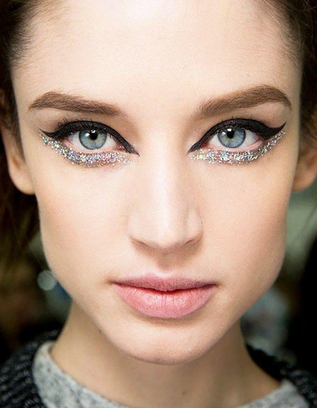 Winged cat eye and under eye glitter
